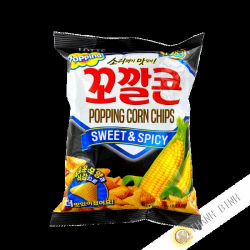 Chips de maíz dulce y picante 72g RAPE Corea