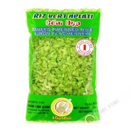 El arroz pegajoso, de color verde aplanado DRAGÓN de ORO 200g de Vietnam