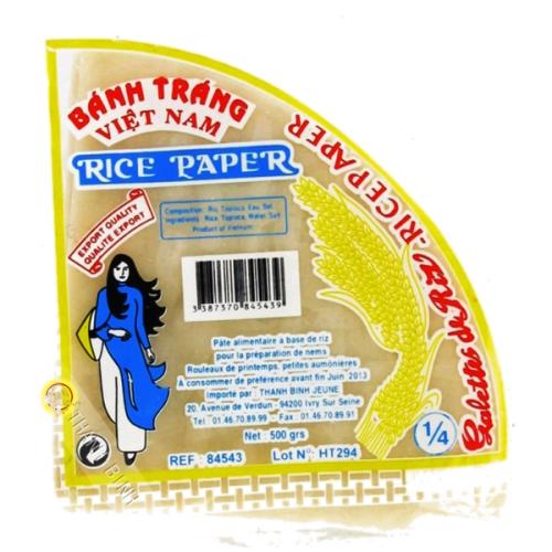 Feuille de riz triangle pour nems FEUNE FILLE 500g Vietnam