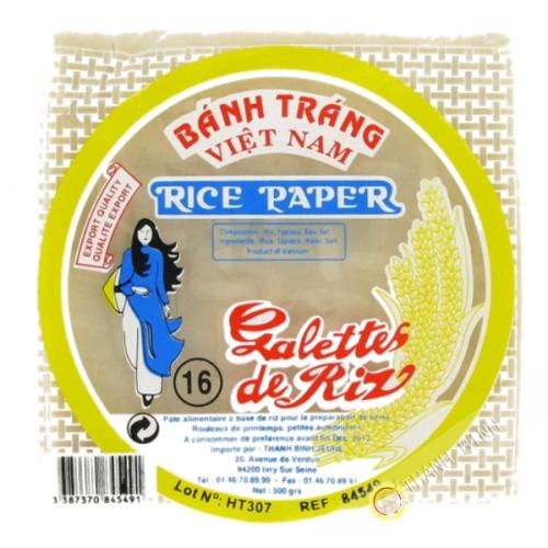 Feuille de riz 16cm carré pour nems FEUNE FILLE 400g Vietnam