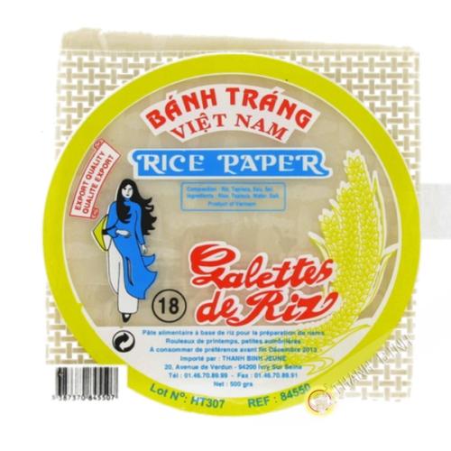 Feuille de riz 18cm carré pour nems FEUNE FILLE 400g Vietnam