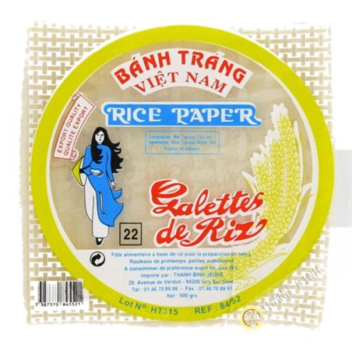 Feuille de riz 22cm carré pour nems FEUNE FILLE 400g Vietnam
