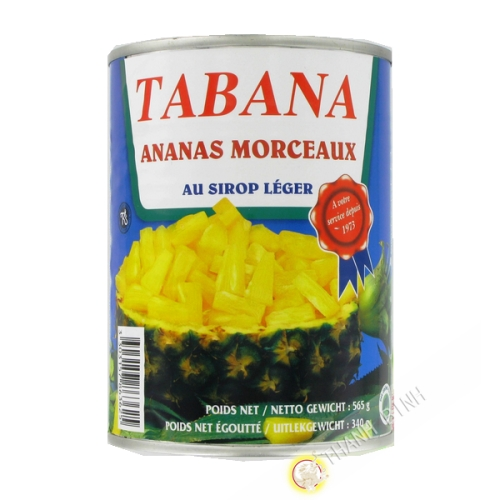 Pineapple pieces in light syrup TABANA 565g France