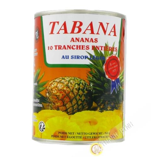 10 fette di ananas in sciroppo leggero TABANA 565g Francia
