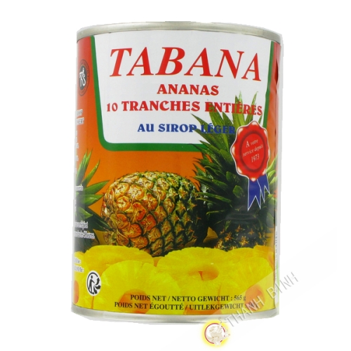 Ananas 10 tranches entières au sirop léger TABANA 565g France